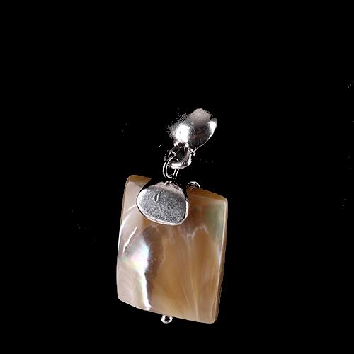 Boucles d'oreilles Ikita rectangle nacré ivoire