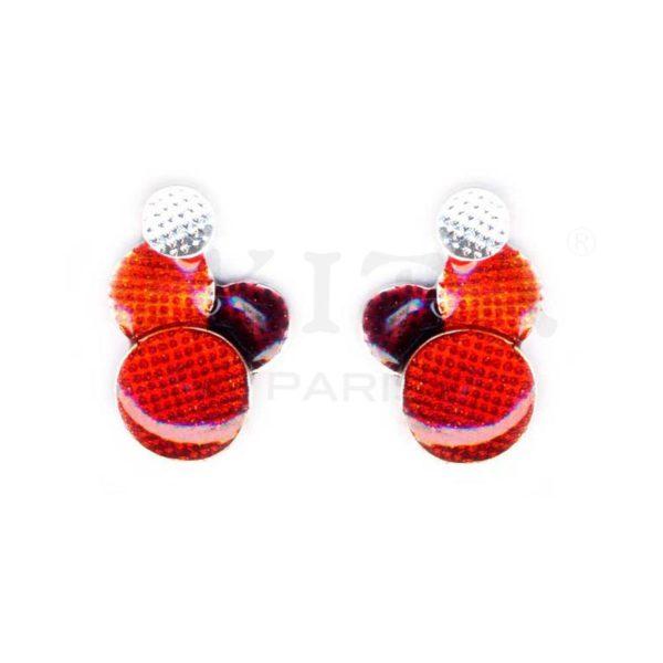 Boucles d'oreilles clous composées de quatre petits disques