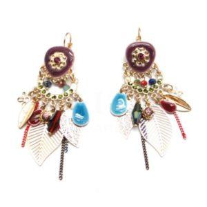 Boucles d'oreilles Ikita métal émaillé pampilles