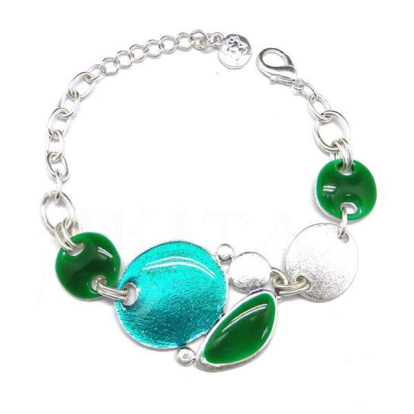 Bracelet Ikita disques acidulés sur chainette metal