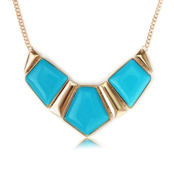 collier pentagones bleu turquoise milea fantasy