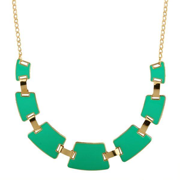 Collier quadrilateres vert