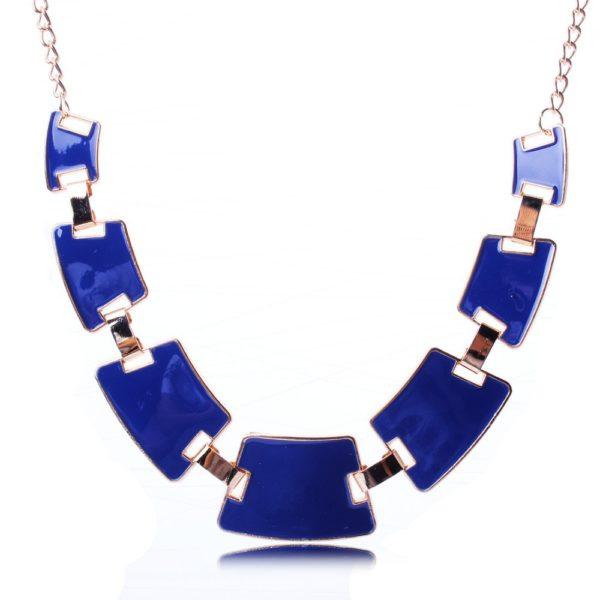Collier quadrilateres bleu