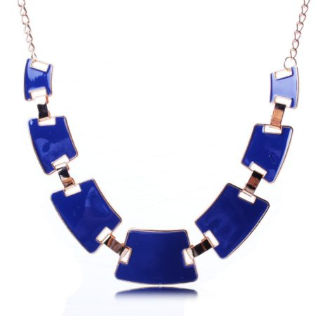 Collier quadrilateres bleu