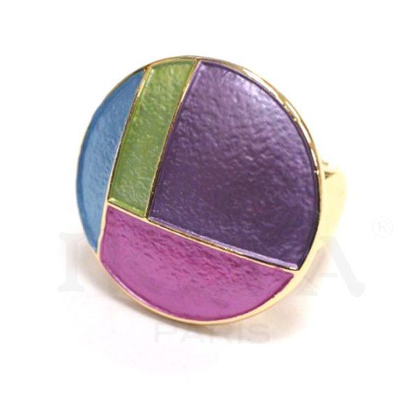 Bague ajustable Ikita, agrémenté d'un cabochon en métal émaillé avec motifs en quarts de cercle. Bleu, Rouge, Multicolore.