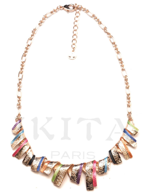 Collier Ikita doré multicolore