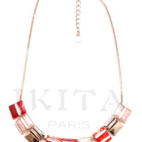 collier ikita trio de carres rayes rouge