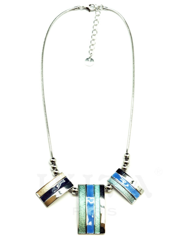 collier trio rectangles bleu