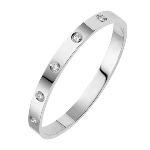 Bracelet jonc plat cristal argenté