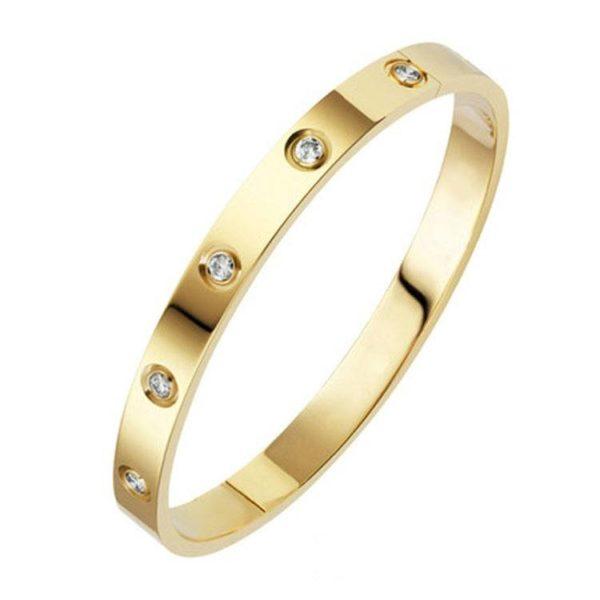 Bracelet jonc plat cristal doré
