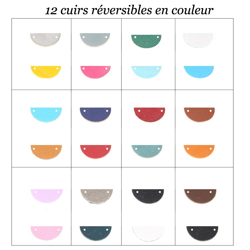 Collier acier inoxydable cuir réversible style