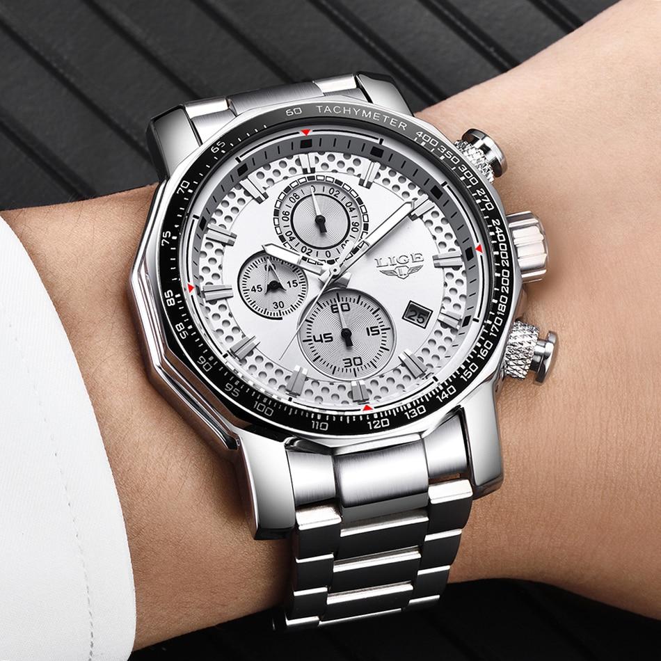 Montre acier chronographe à quartz