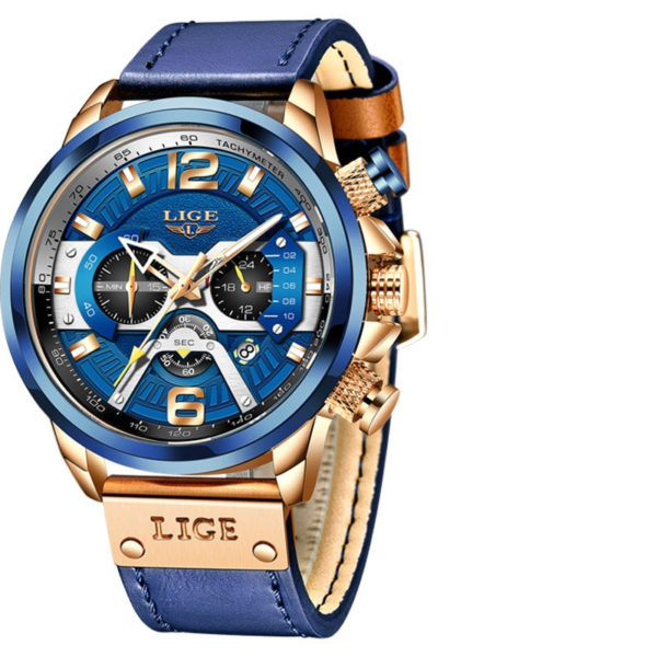 Montre chrono bleu doré